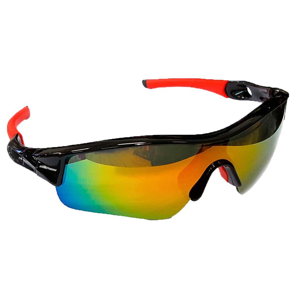 Óculos Ciclista Mod Mask - Preto c/Vermelho C/ Lentes Coloridas   - REAL ESPORTE
