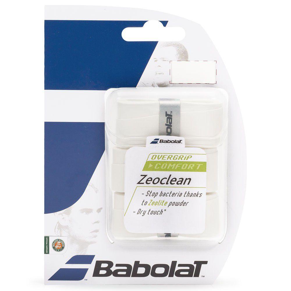 Overgrip Babolat Zeoclean  X3 Branco  - REAL ESPORTE