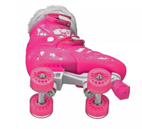 Patins  Roller Derby Princess Ajustável 32 Ao 36 - Rosa  - REAL ESPORTE