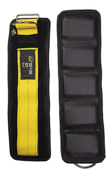 Puxador de Gluteo C/Velcron Brasil Fit - Preto/Amarelo  - REAL ESPORTE