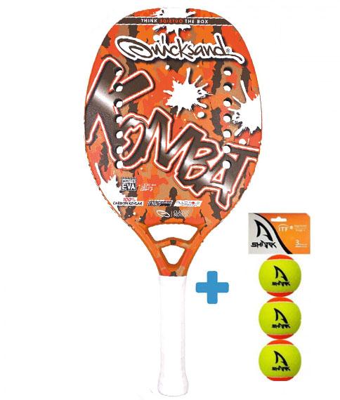 Raquete Beach Tennis Quicksand Kombat 2021+ Brinde 3 Bolas  - REAL ESPORTE