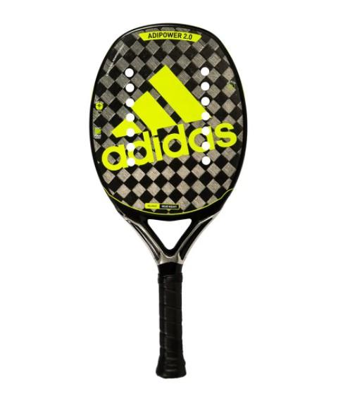 Raquete de Beach Tennis Adidas Adipower 2.0 - Preta/Verde Limão + Brinde 3 Bolas  - REAL ESPORTE