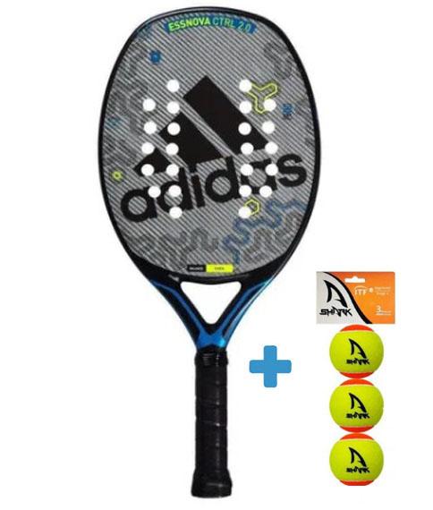 Raquete de Beach Tennis Adidas Essnova CTRL 2.0 - Cinza/Azul + Brinde 3 Bolas  - REAL ESPORTE