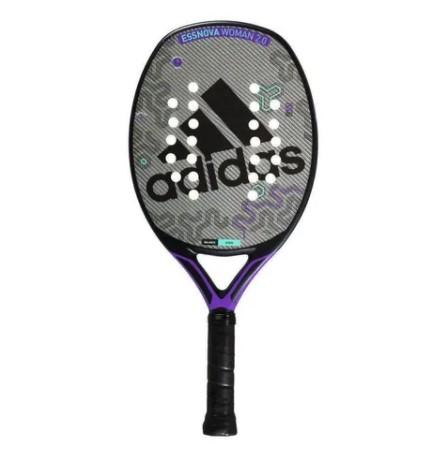 Raquete de Beach Tennis Adidas Essnova Woman - Cinza/Roxa + Brinde 3 Bolas  - REAL ESPORTE