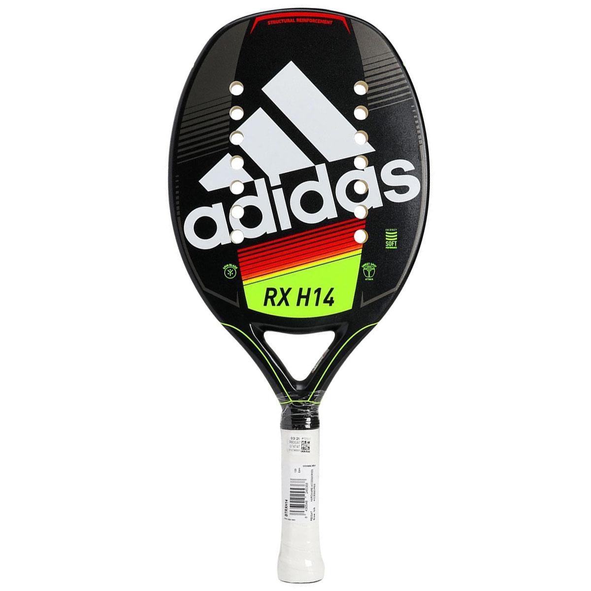 Raquete de Beach Tennis Adidas RX H14 Preta e Amarela + 3 Bolas  - REAL ESPORTE