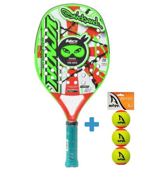 Raquete de Beach Tennis Quicksand Ninja Star 2021 + Brinde 3 Bolas  - REAL ESPORTE