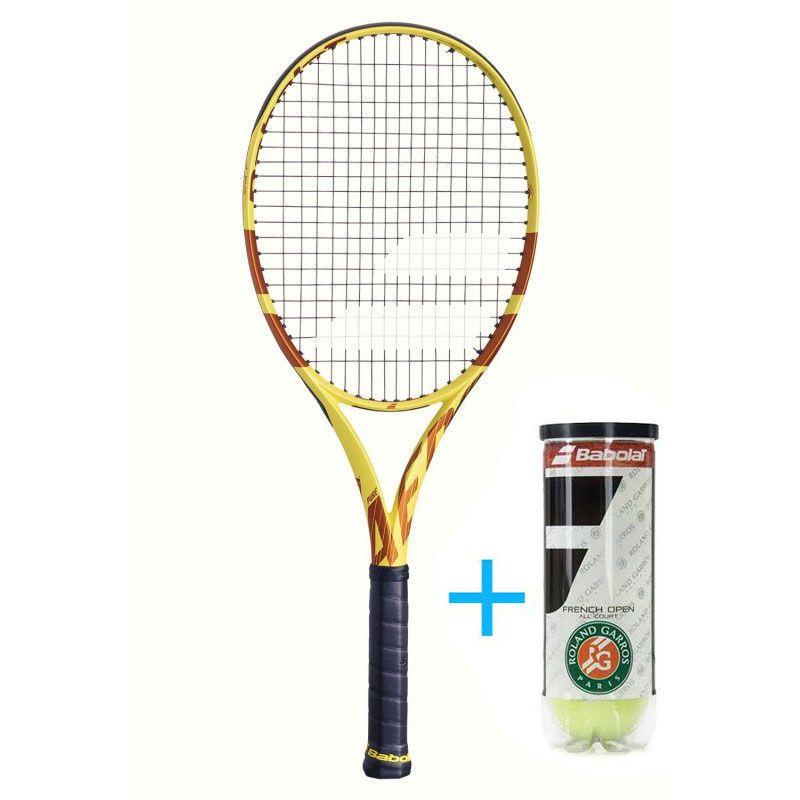 Raquete de Tênis Babolat Pure Aero Roland Garros 2019 + Bola  - REAL ESPORTE
