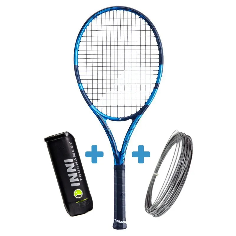 Raquete de Tênis Babolat Pure Drive 2021 + Bola e Corda  - REAL ESPORTE