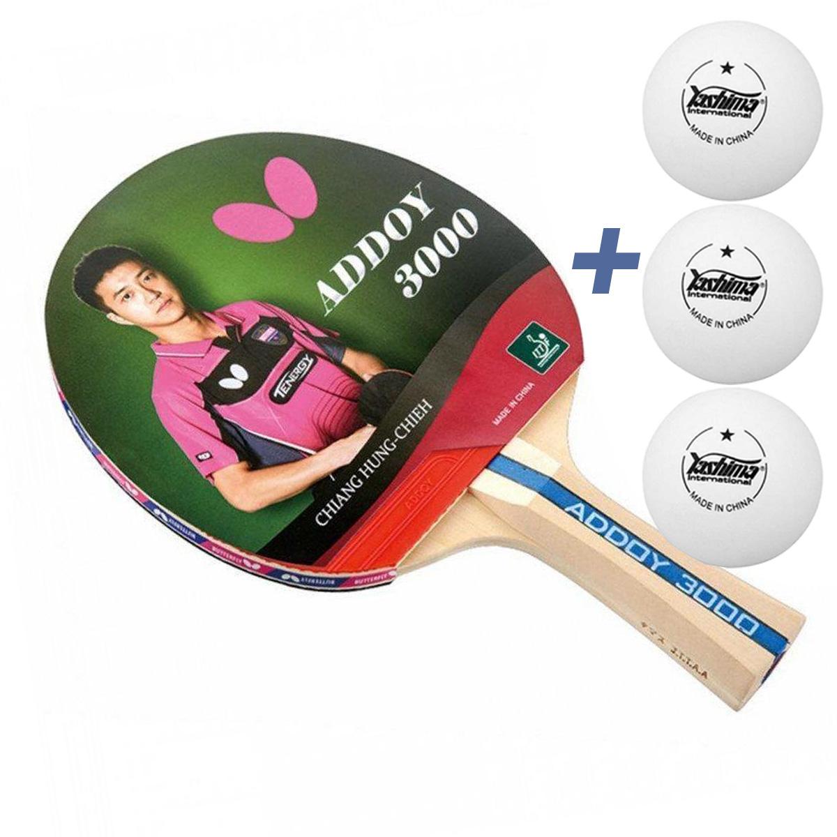 Raquete de tenis de Mesa Butterfly Addoy 3000 New  2020- Chiang Hung (Chieh) + Brinde 3 Bolinhas  - REAL ESPORTE