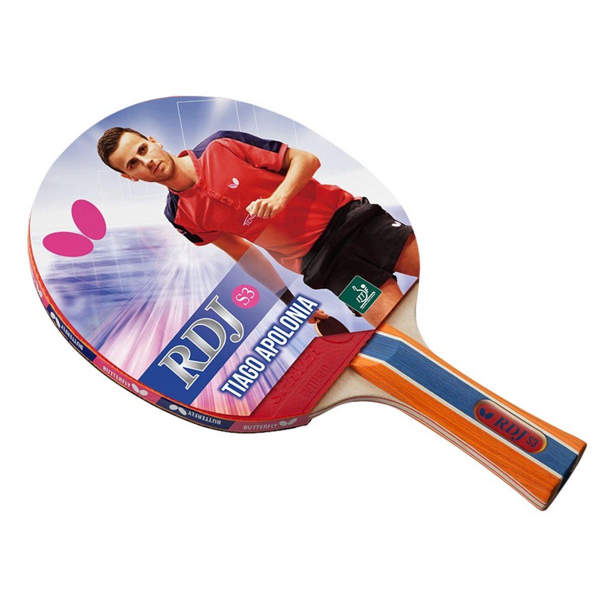 Raquete de tenis de Mesa Butterfly RDJ S3 - Tiago Apolonia + Brinde 3 Bolinhas  - REAL ESPORTE