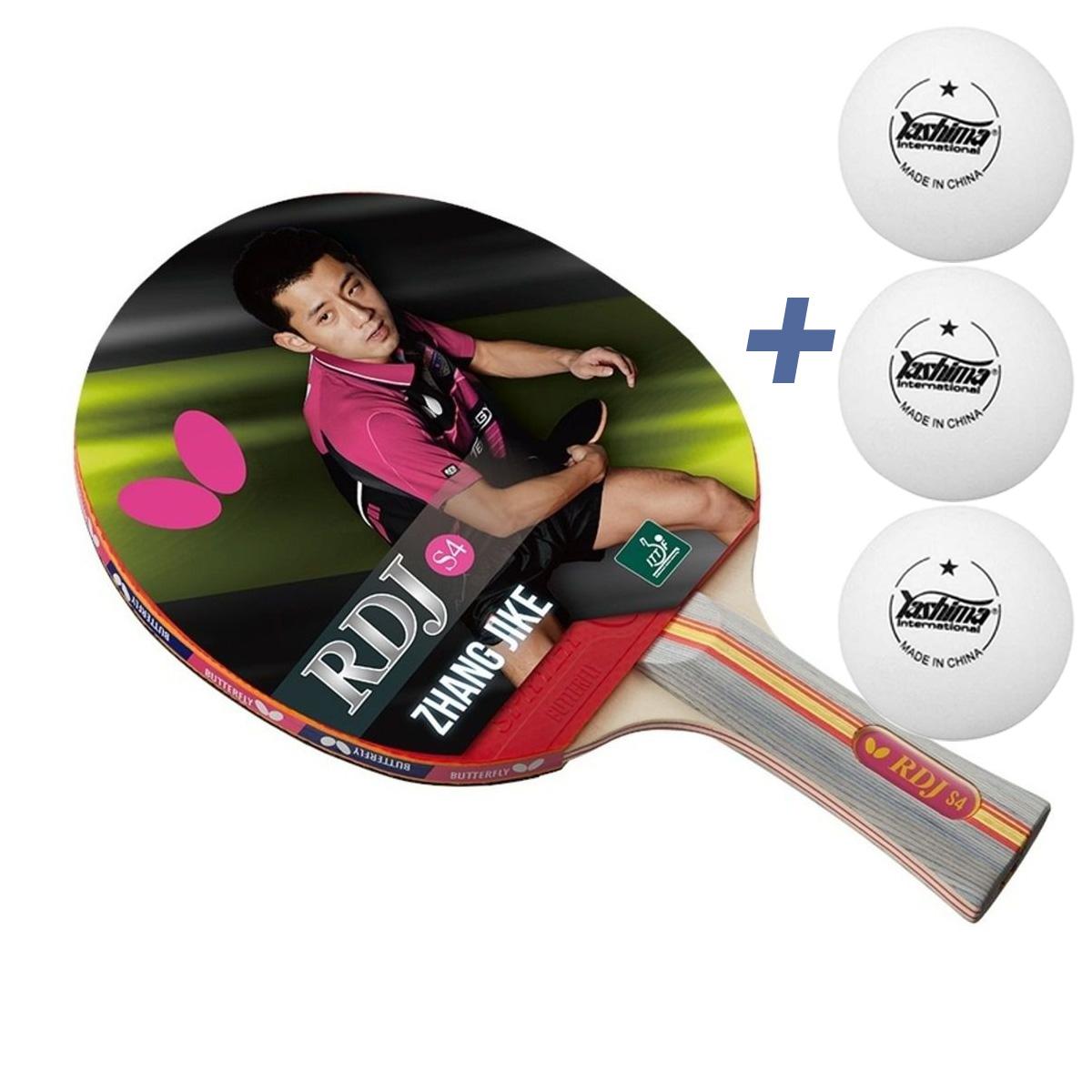 Raquete de tenis de Mesa Butterfly RDJ S4 - Zhang Jike + Brinde 3 Bolinhas  - REAL ESPORTE