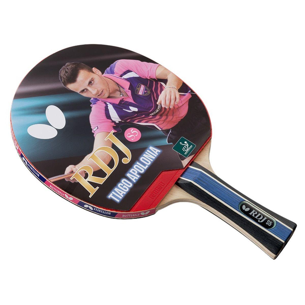 Raquete de tenis de Mesa Butterfly RDJ S5 - Tiago Apolonia  - REAL ESPORTE