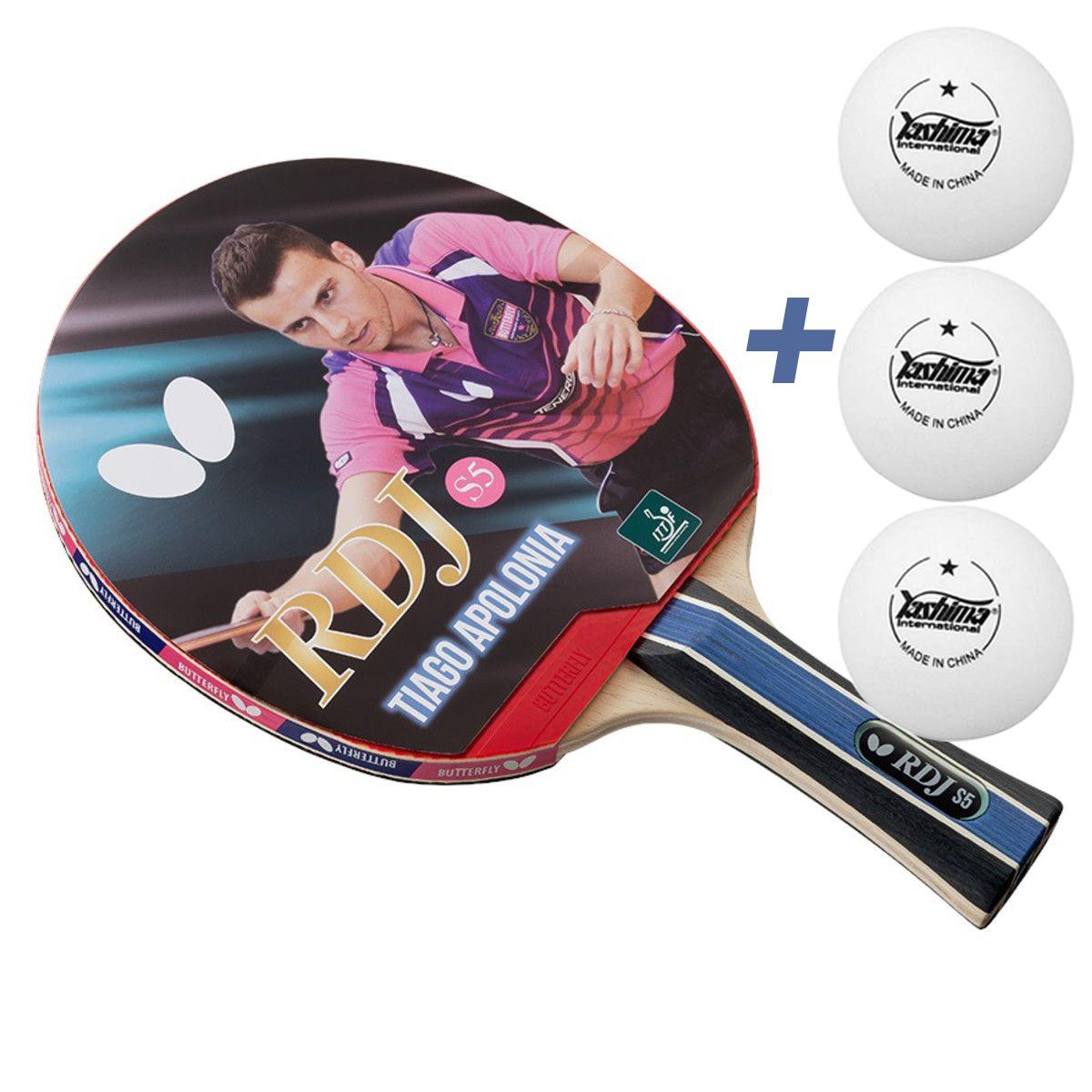 Raquete de tenis de Mesa Butterfly RDJ S5 - Tiago Apolonia + Brinde 3 Bolinhas  - REAL ESPORTE