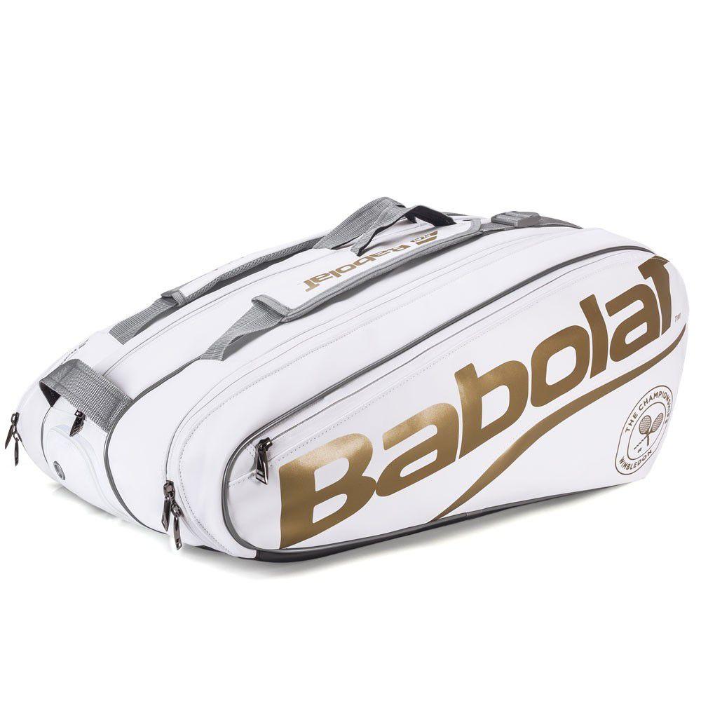 Raqueteira Babolat Pure Wimbledon x12 - Branco e Dourado  - REAL ESPORTE
