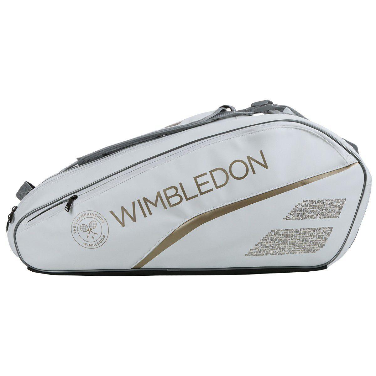 Raqueteira Babolat Pure Wimbledon  X6 - Branco e Dourado  - REAL ESPORTE