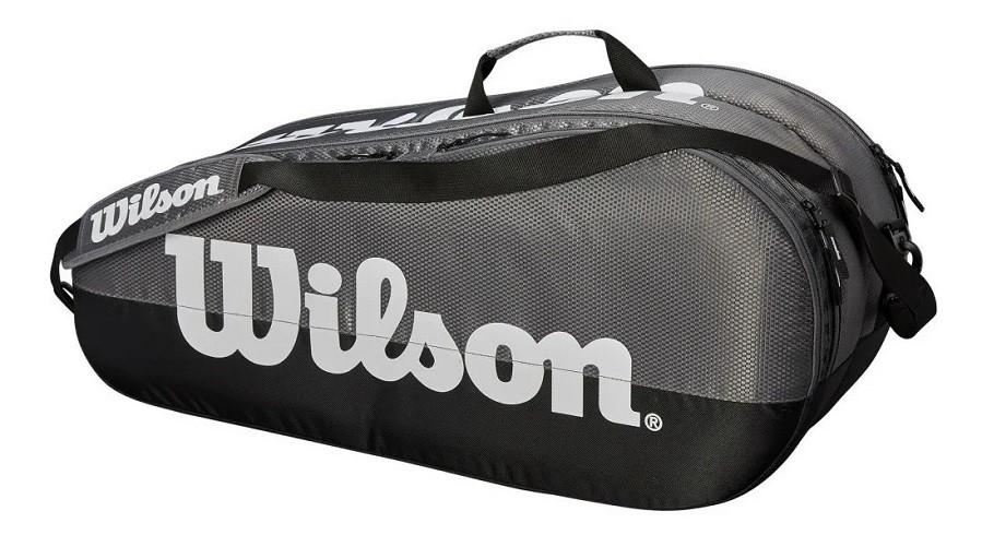 Raqueteira Wilson Esp Team 2 Comp x6 Dupla Cinza e Preto  - REAL ESPORTE