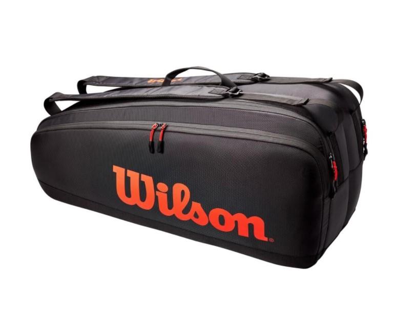 Raqueteira Wilson Tour x6 Pack - Preto/Vermelho  - REAL ESPORTE