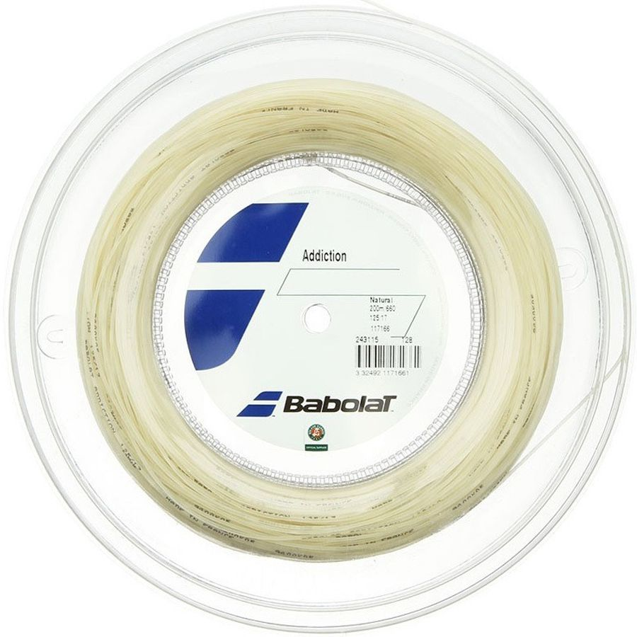 Corda Babolat Addiction 125 17 Rolo 200 Metros - Natural  - REAL ESPORTE