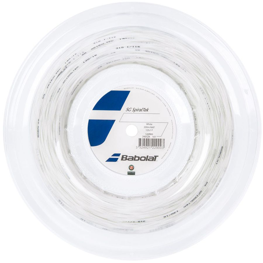Corda Babolat SG Spiraltek 17 1.25MM Branco - Rolo com 200M  - REAL ESPORTE