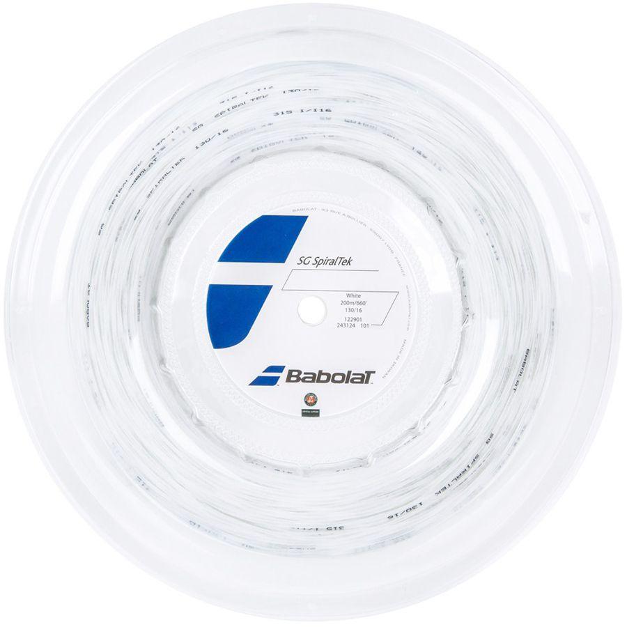 Corda Babolat SG Spiraltek 16 1.30MM Branco - Rolo com 200M  - REAL ESPORTE