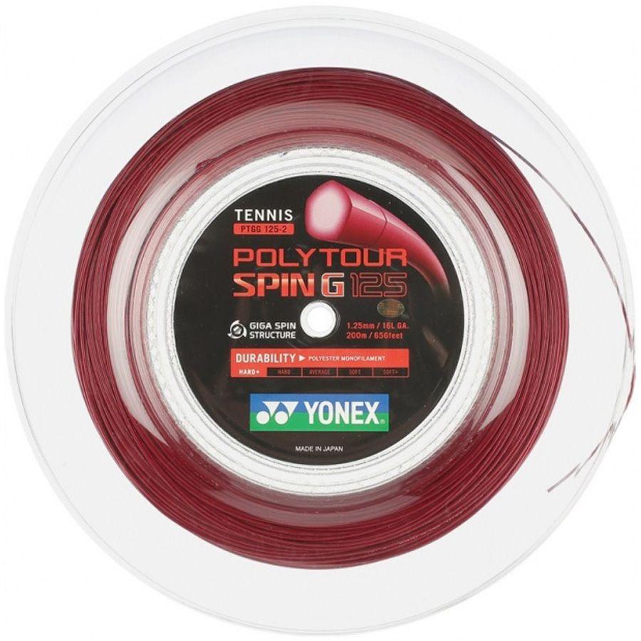 Corda Yonex Poly Tour Spin G 16L 1.25mm Vermelho - Rolo com 200 Metros  - REAL ESPORTE