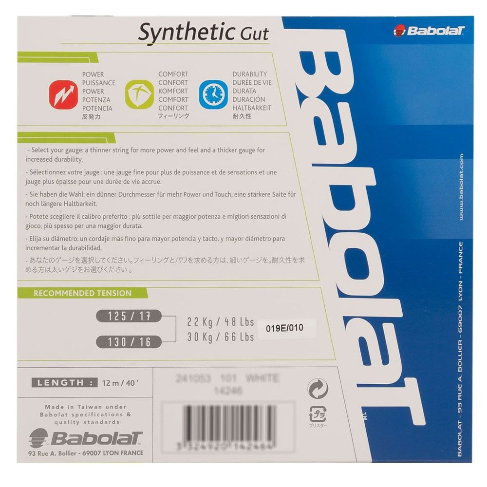 Corda Babolat Synthetic Gut 17 1.25mm 11,75m Natural - Set Individual  - REAL ESPORTE