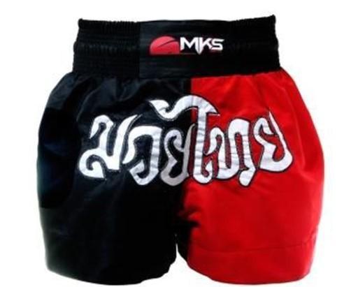 Short de Muay Thai MKS - Preto/Vermelho  - REAL ESPORTE