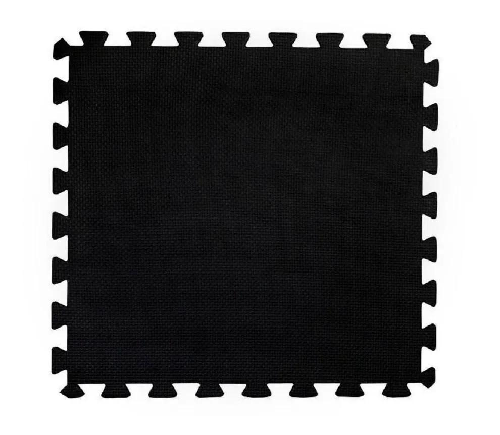 Tatame em Eva 1x1m - 10 mm de Espessura com 1 Encaixe - Preto  - REAL ESPORTE