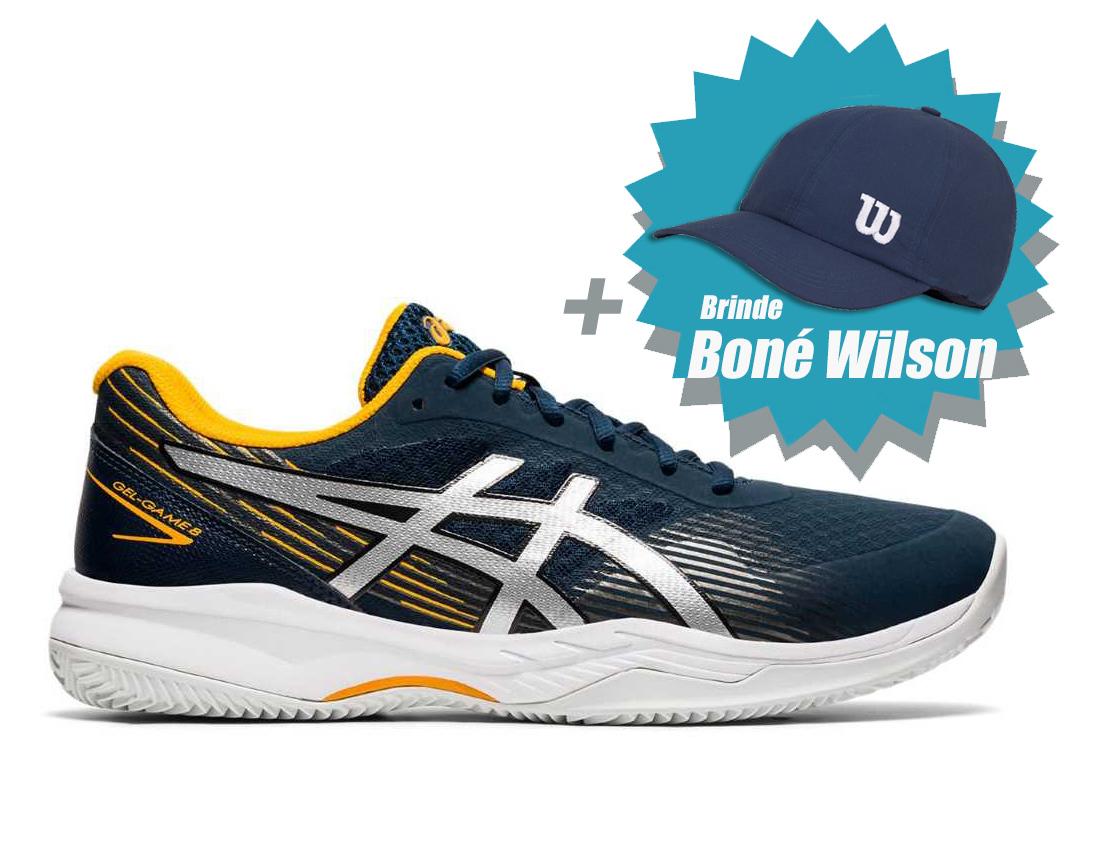Tenis Asics Gel Game 8 Clay French Blue/Pure Silver + Brinde Boné Wilson  - REAL ESPORTE