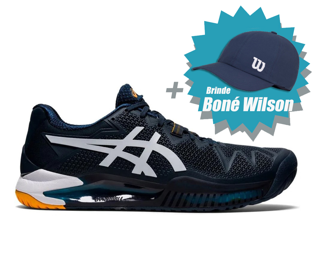 Tênis Asics Gel Resolution 8 Frech Blue/White + Brinde Boné Wilson  - REAL ESPORTE