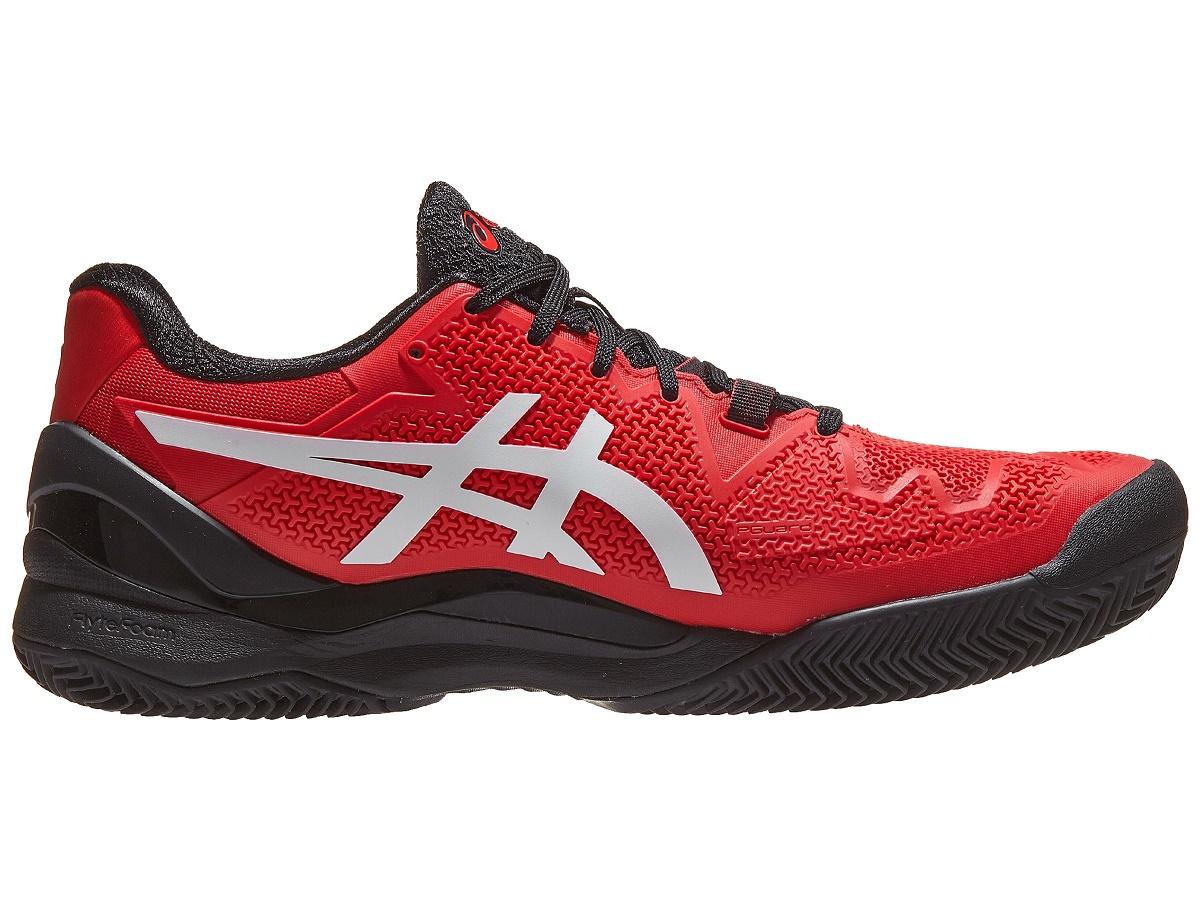 Tenis Asics Gel Resolution 8 Clay Eletric Red/White - Saibro  - REAL ESPORTE