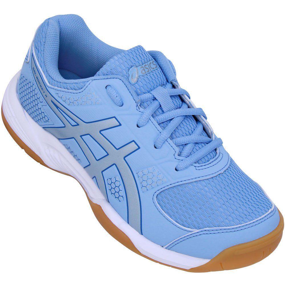 Tênis Asics Gel Rocket 8 A P/ Vôlei Squash Tênis Futsal Azul   - REAL ESPORTE
