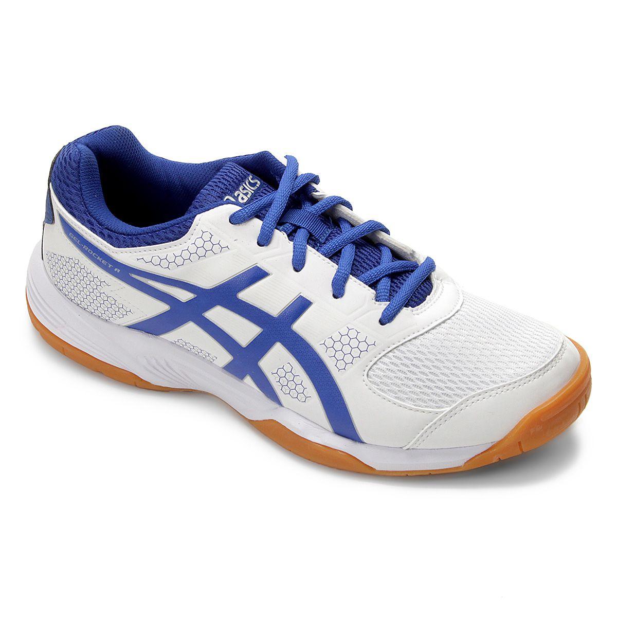 Tênis Asics Gel Rocket 8 A P/ Vôlei Squash Tênis Futsal Branco  - REAL ESPORTE