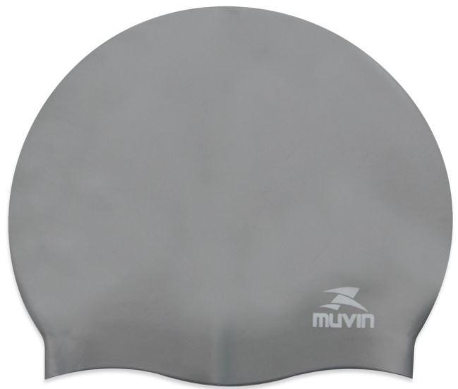 Touca de Natação Em Silicone Standard Muvin - Prata  - REAL ESPORTE