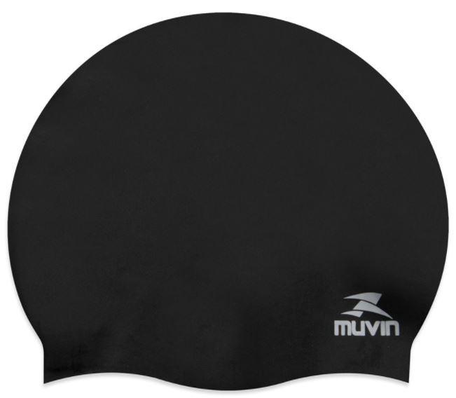 Touca de Natação Em Silicone Standard Muvin - Preto  - REAL ESPORTE