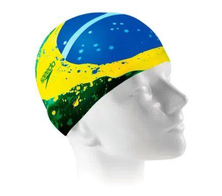 Touca de Natação Speedo Brasil Flag Cap - Amarelo/Verde  - REAL ESPORTE
