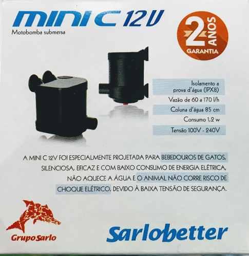 Bomba Submersa Sarlobetter Sb Mini C 12v Com Fonte Bivolt