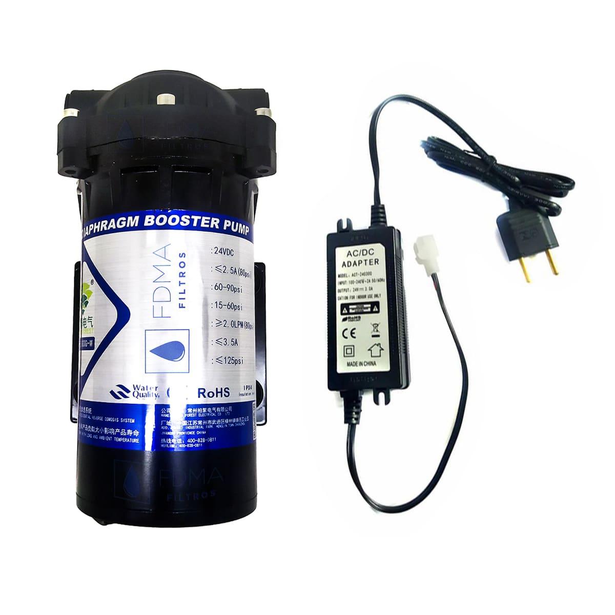 Bomba Pressurizada 300gpd + fonte Bilvolt Concector Incerto