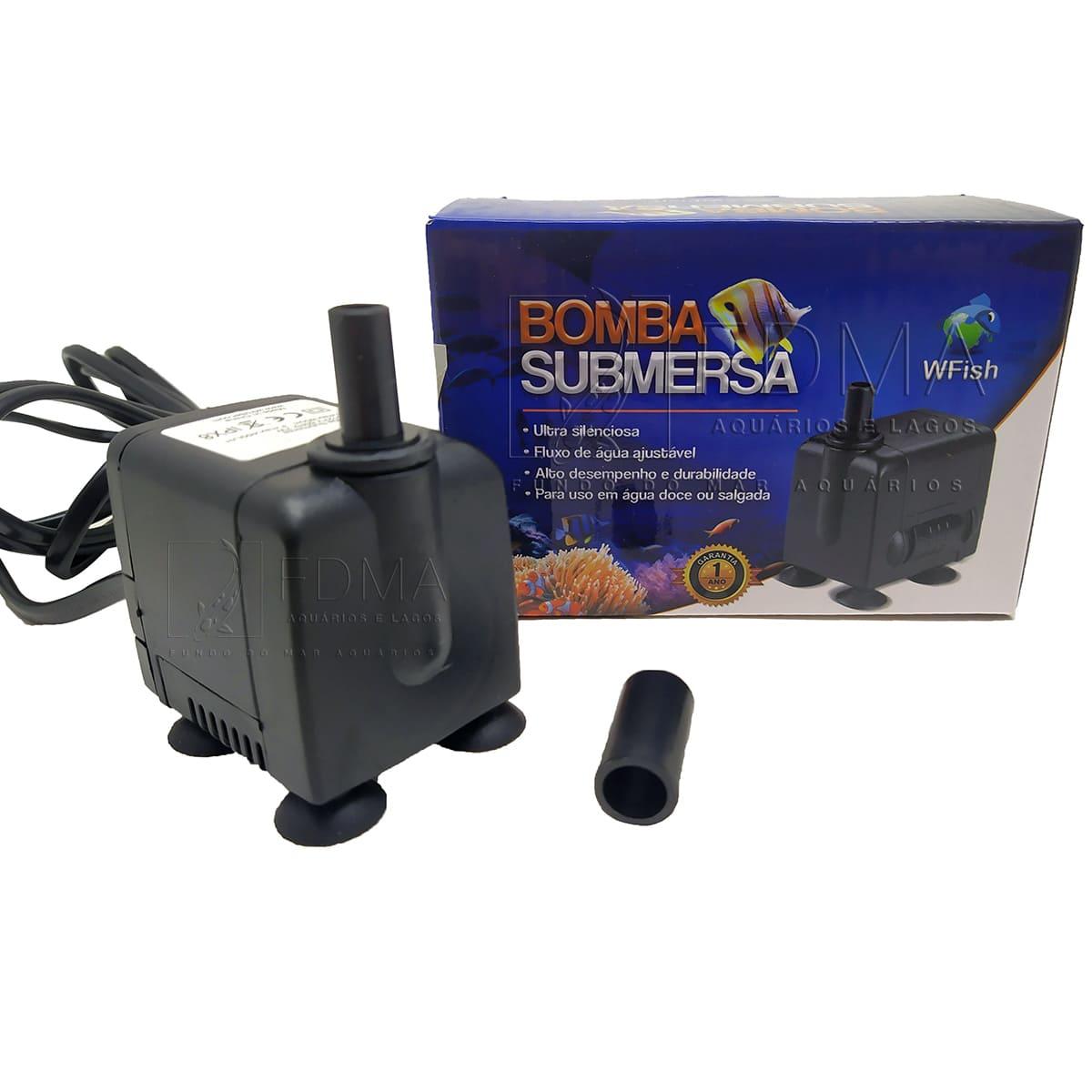 Bomba Submersa Wfish WF 450  para Aquários e Fontes 450L/H