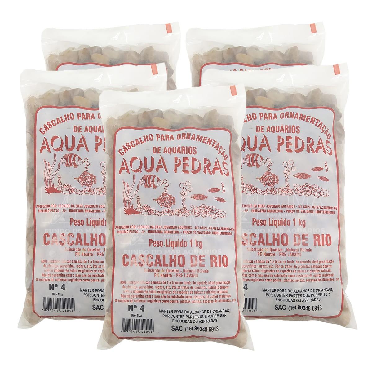 Cascalho de Rio Aqua Pedras para Aquários e Jardins N°4 -5kg