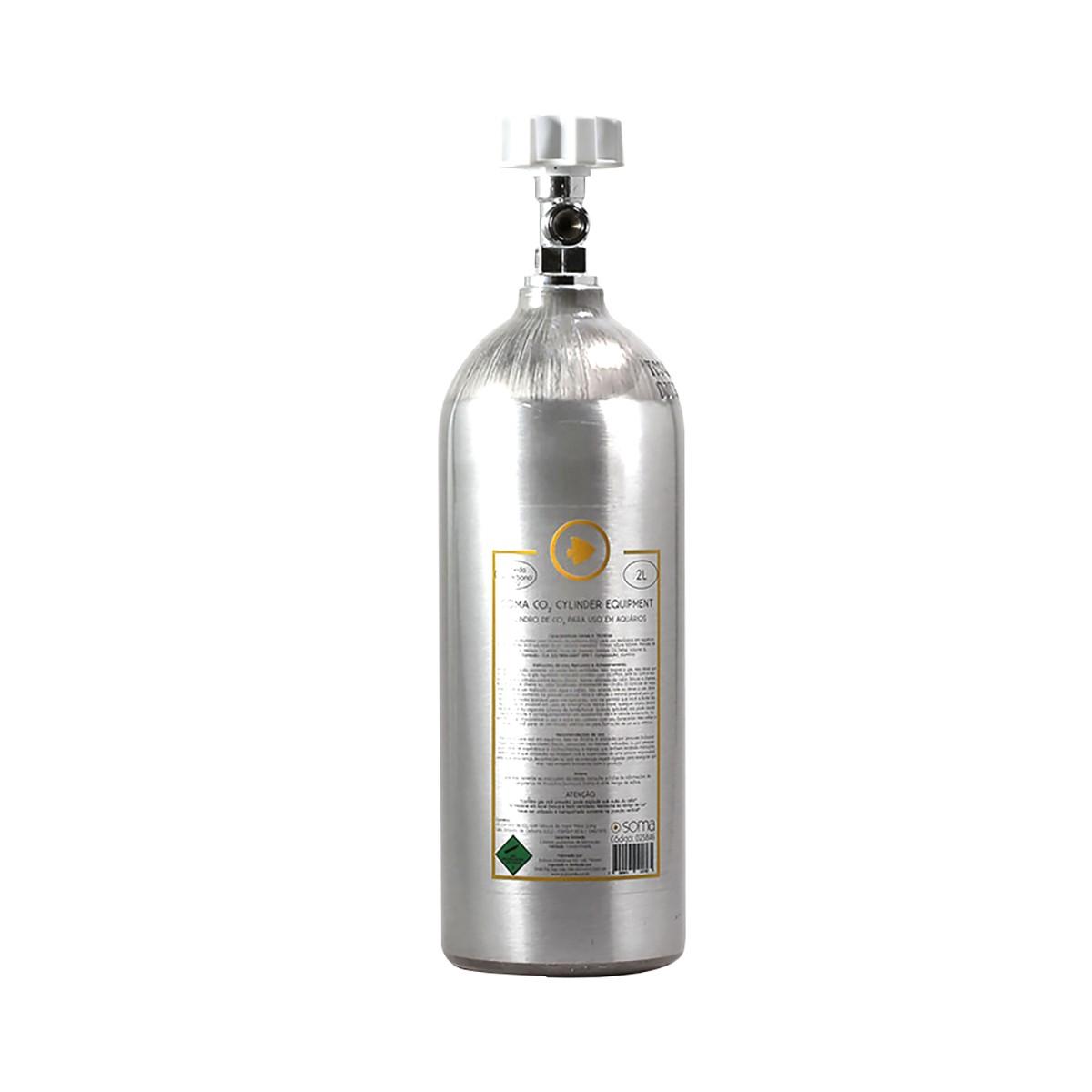 Cilindro de CO2 SOMA para Aquários - 2 Litros (Alumínio ABNT)