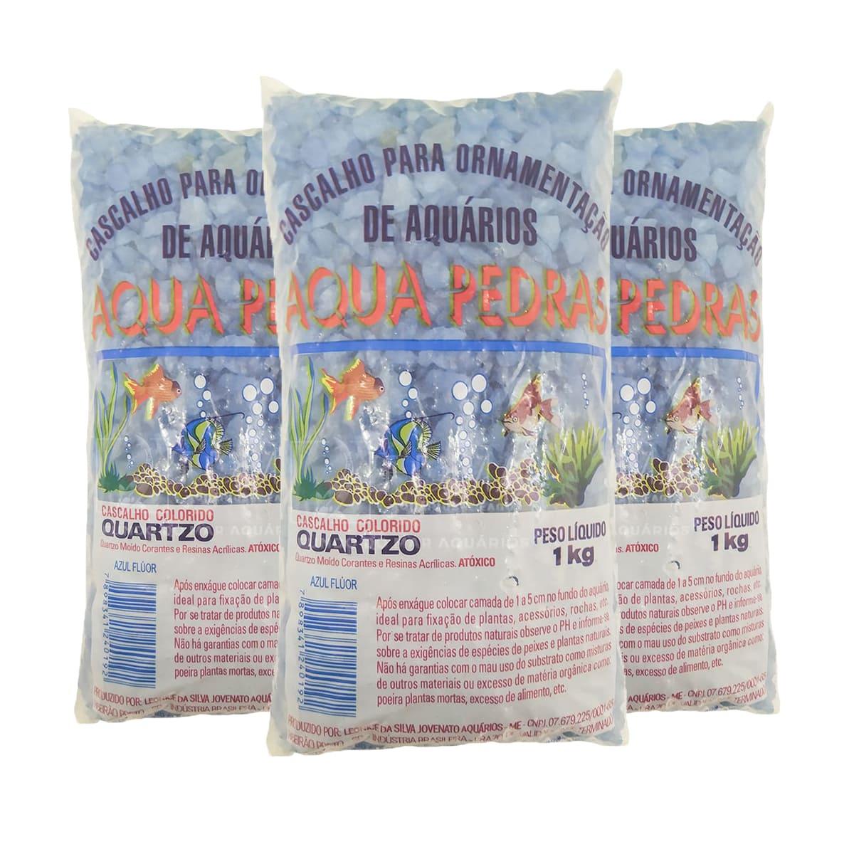 Cristal Quartzo Decoração Aquário e jardim Azul Flúor - 3kg