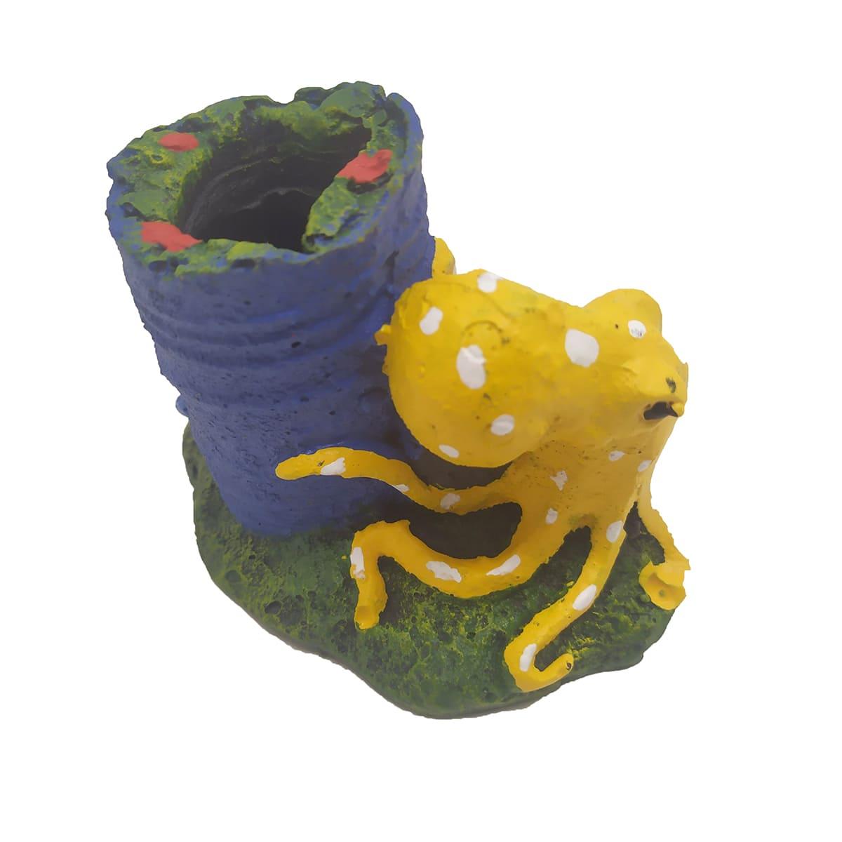 Enfeite para Aquários Polvo no Tambor - Fragata Ornamentos
