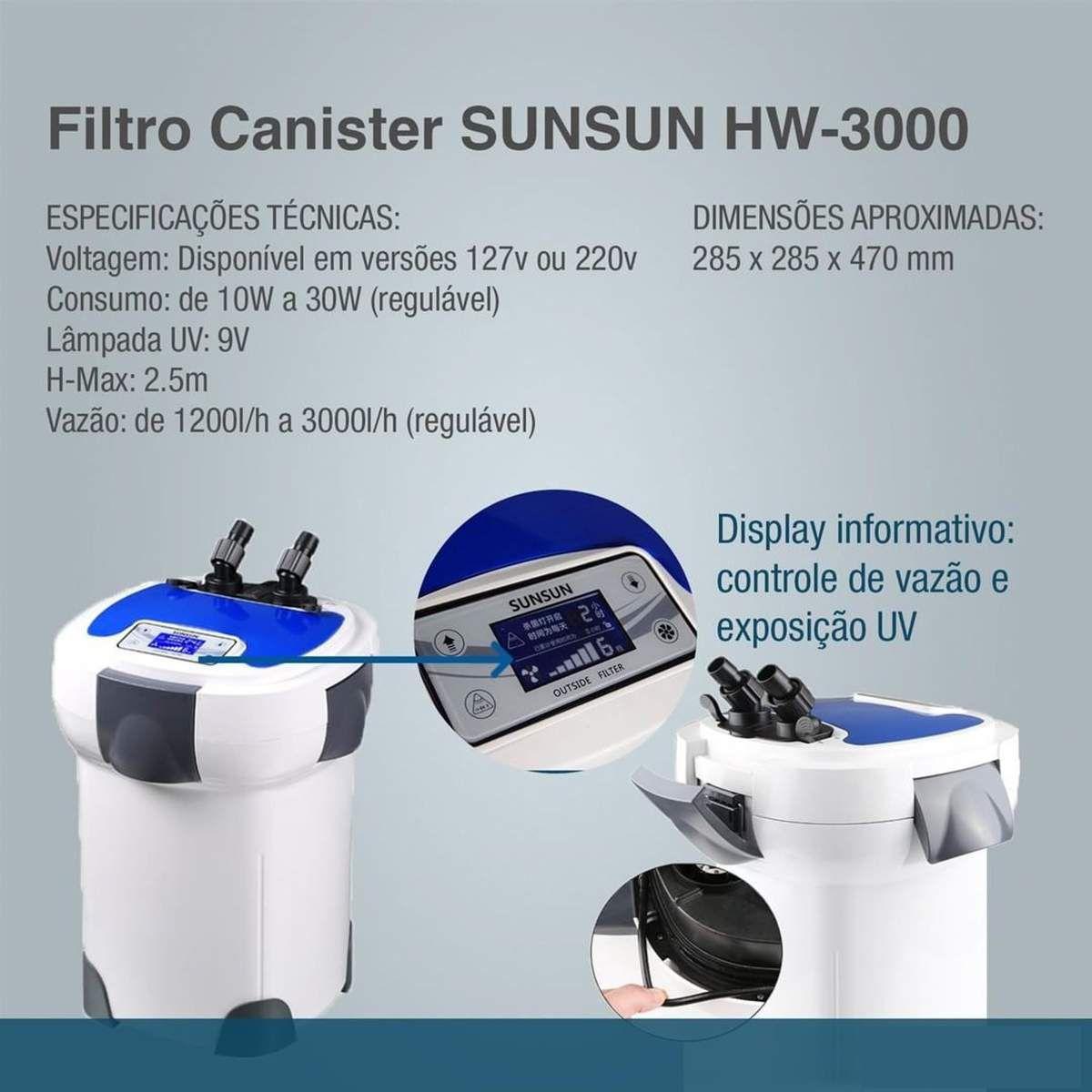 Filtro Canister Sunsun Hw-3000 Uv 1200l/h A 3000l/h 9w