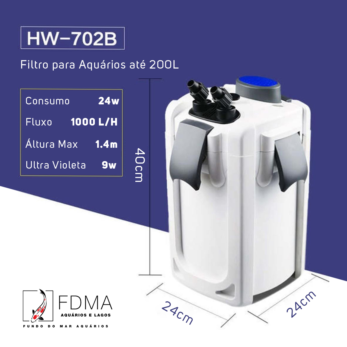 SunSun Filtro Canister Hw-702b 1000l/h Uv 9w até 200L Brinde