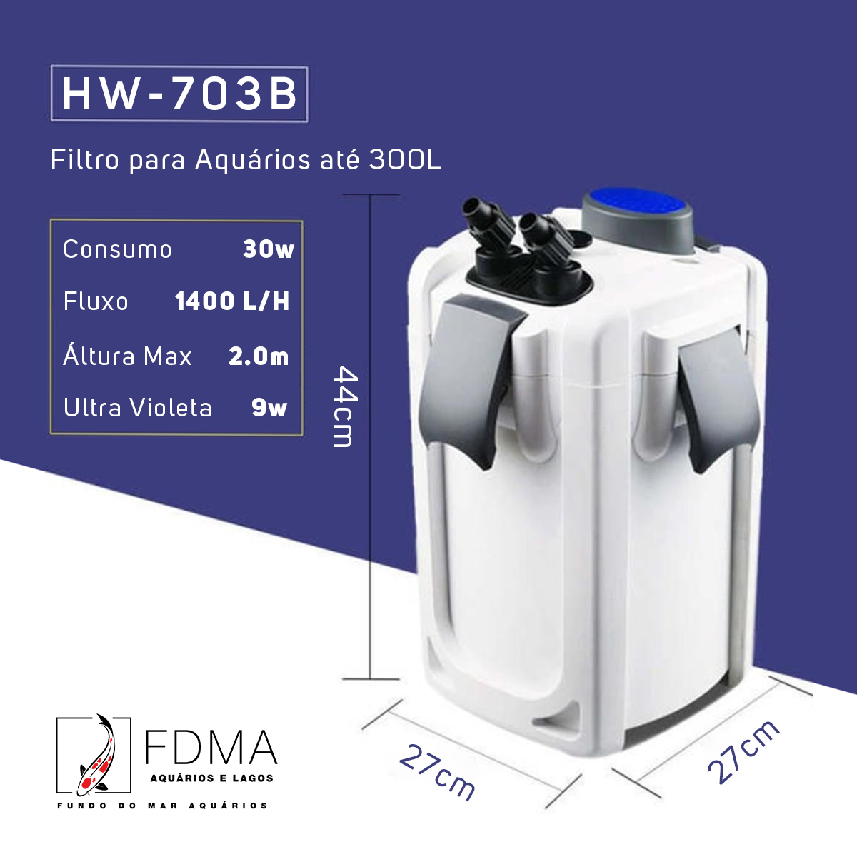SunSun Filtro Canister Hw-703b 1400l/h Uv 9w até 300L Brinde