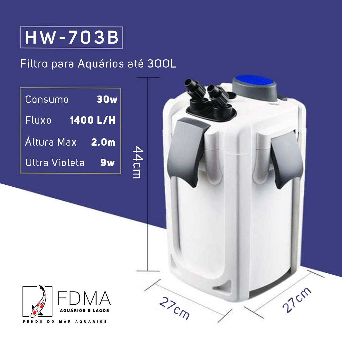SunSun Filtro Canister Hw-704b 2000l/h Uv 9w até 400L Brinde