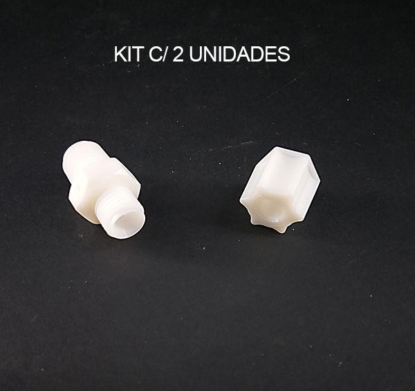 KIT Conector Reto Macho 1/4 rosca c/ Porca 1/4 - 2 UNIDADES