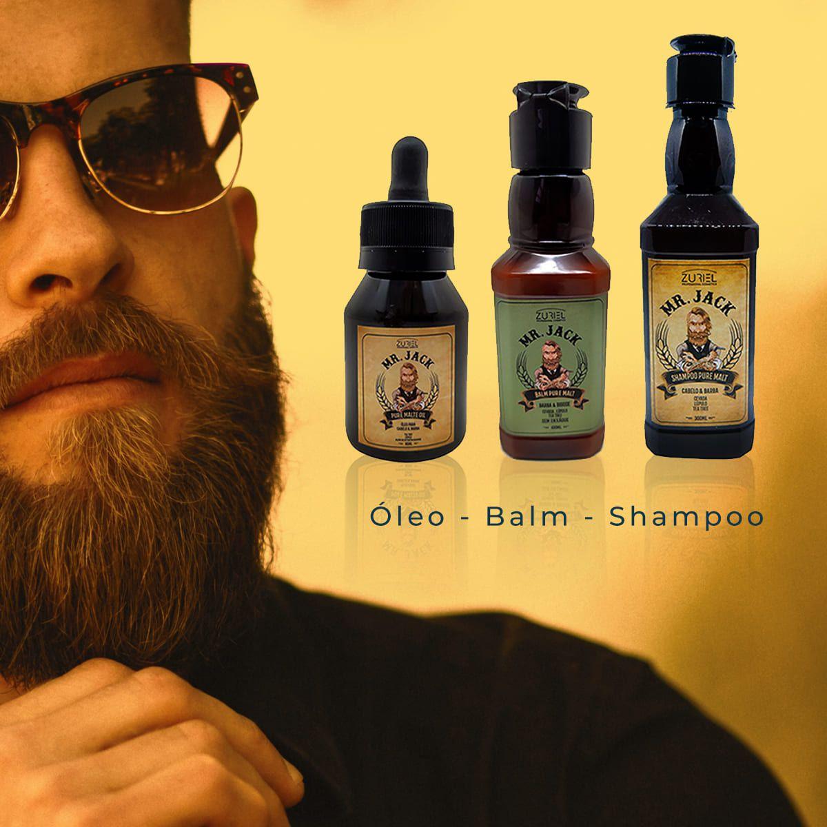 Kit Cuidados com a Barba Mr Jack 01 - Balm, Óleo e Shampoo