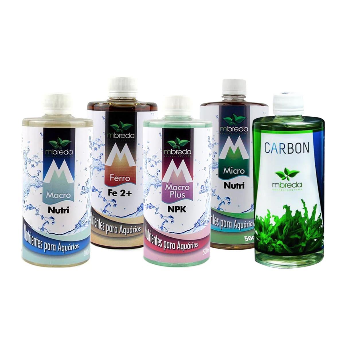 Kit Fertilizantes para Aquários Plantados Mbreda 1 Litro + Carbon